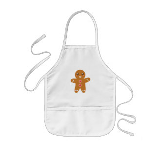 Cute and Happy Gingerbread Man for Christmas Kids' Apron