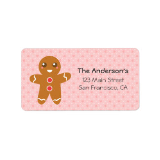 Cute and Happy Gingerbread Man for Christmas Personalized Address Label
