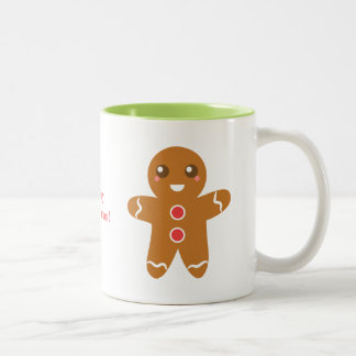 Cute and Happy Gingerbread Man for Christmas Two-Tone Coffee Mug