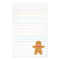 Cute and Happy Gingerbread Man for Christmas Stationery