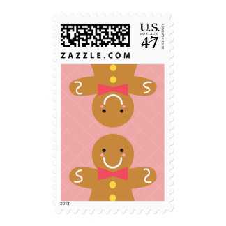 Cute and Happy Gingerbread Men for Christmas Postage