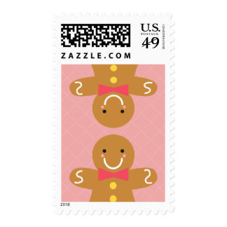 Cute and Happy Gingerbread Men for Christmas Postage Stamps