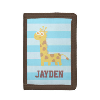 Cute and Happy Giraffe For Children Tri-fold Wallet