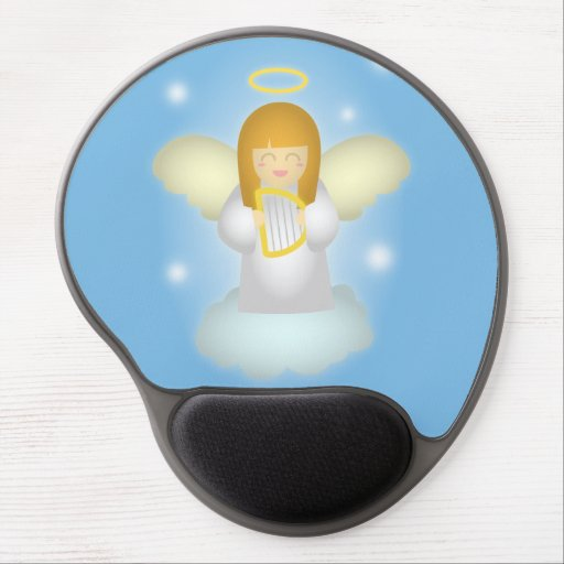 Cute and Happy Guardian Angel with Harp Gel Mouse Mats