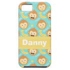 Cute and Happy Monkey, Bananas and Stars Pattern iPhone SE/5/5s Case