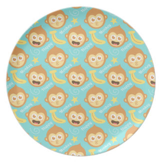 Cute and Happy Monkey, Bananas and Stars Plate