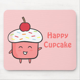 Cute and Happy Pink Cupcake with Cherry Mouse Pad