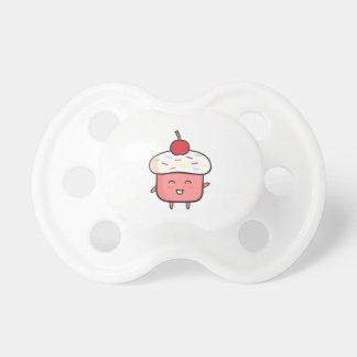 Cute and Happy Pink Cupcake with Cherry Pacifier