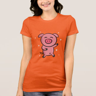 Cute and Happy Pink Piggy with Sparkles T-Shirt