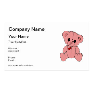 Cute and Happy Pink Teddy Bear Business Card Templates