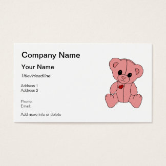 Cute and Happy Pink Teddy Bear Business Card