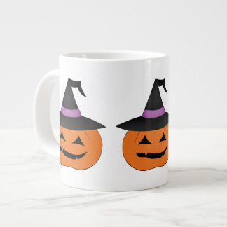 Cute and Happy pumpkin with witch hat Large Coffee Mug