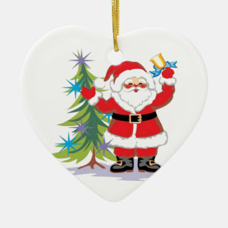 Cute and Happy Santa Claus Ringing a Bell Ceramic Ornament