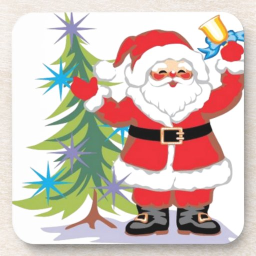 Cute and Happy Santa Claus Ringing a Bell Drink Coaster