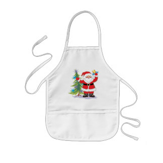 Cute and Happy Santa Claus Ringing a Bell Kids' Apron