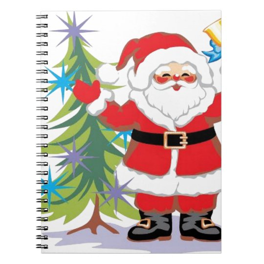 Cute and Happy Santa Claus Ringing a Bell Notebook