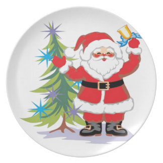 Cute and Happy Santa Claus Ringing a Bell Plate