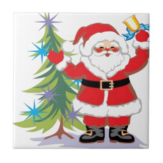 Cute and Happy Santa Claus Ringing a Bell Ceramic Tiles
