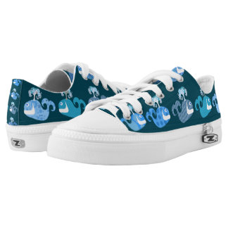 Cute and Happy Whales Low-Top Sneakers