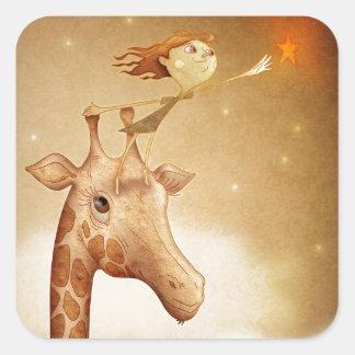 Cute and imaginative illustration square sticker