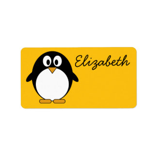 Cute and Modern Cartoon Penguin Address Label