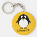 Cute and Modern Cartoon Penguin Basic Round Button Keychain