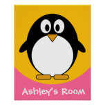 Cute and Modern Cartoon Penguin Poster