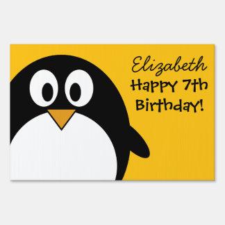 Cute and Modern Cartoon Penguin Sign