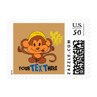 Cute and Playful Monkey with Chinese Character Postage