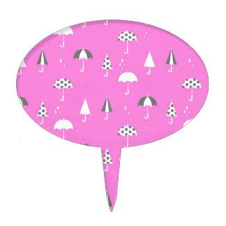 Cute and playful umbrella print cake picks