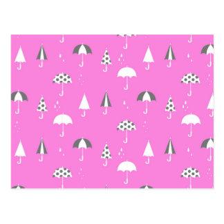 Cute and playful umbrella print postcard