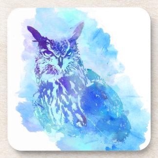 Cute and Pretty Artsy Owl Design in Blue Coaster