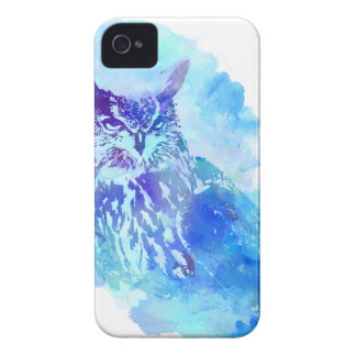 Cute and Pretty Artsy Owl Design in Blue iPhone 4 Cover