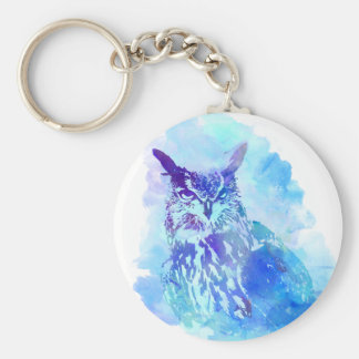 Cute and Pretty Artsy Owl Design in Blue Basic Round Button Keychain