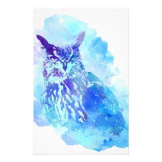 Cute and Pretty Artsy Owl Design in Blue Stationery
