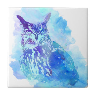 Cute and Pretty Artsy Owl Design in Blue Tile