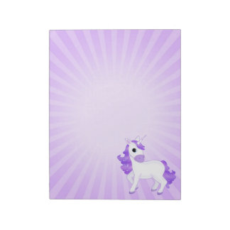 Cute and Pretty Purple Cartoon Unicorn Notepads