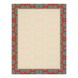 Cute and Quaint Floral - Red and Blue Letterhead