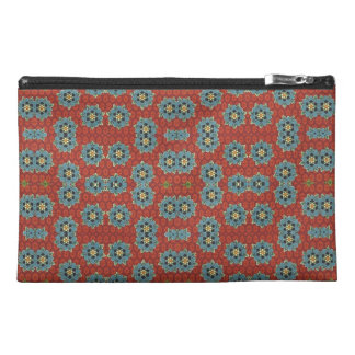 Cute and Quaint Floral - Red and Blue Travel Accessory Bag