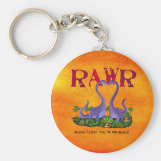Cute and Romantic Dinos - Rawr Basic Round Button Keychain