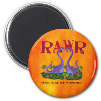 Cute and Romantic Dinos - Rawr Magnet