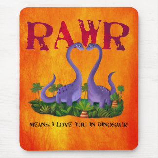 Cute and Romantic Dinos - Rawr Mouse Pad