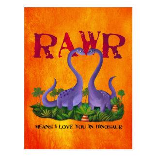 Cute and Romantic Dinos - Rawr Postcard