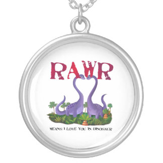 Cute and Romantic Dinos - Rawr Round Pendant Necklace