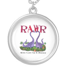 Cute and Romantic Dinos - Rawr Silver Plated Necklace at Zazzle