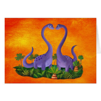 Cute and Romantic Dinosaurs Card