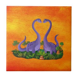 Cute and Romantic Dinosaurs Ceramic Tiles