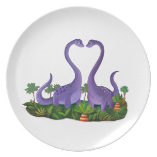 Cute and Romantic Dinosaurs Dinner Plate