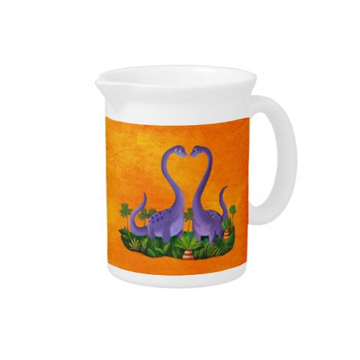 Cute and Romantic Dinosaurs Drink Pitcher