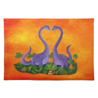 Cute and Romantic Dinosaurs Place Mat